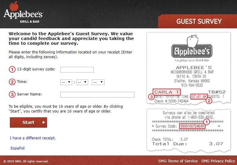 talktoapplebees survey