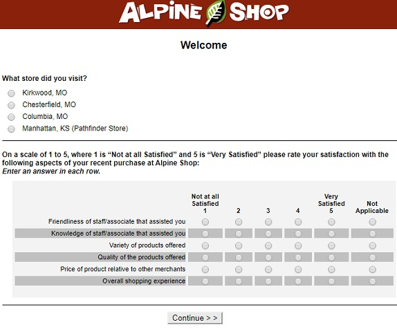 Alpineshop Survey