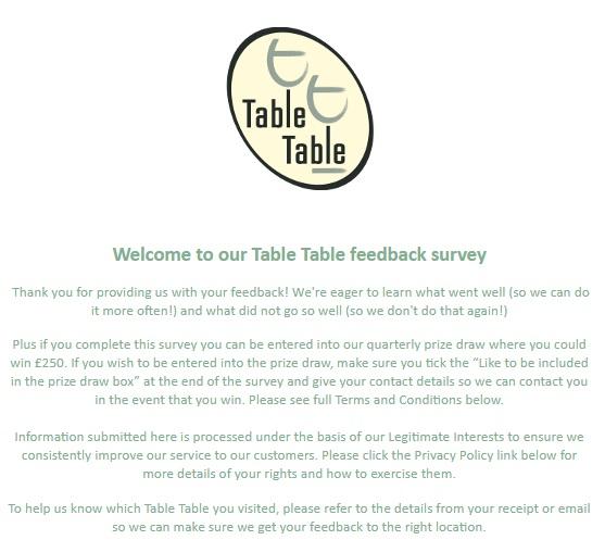 Table Table Feedback Survey