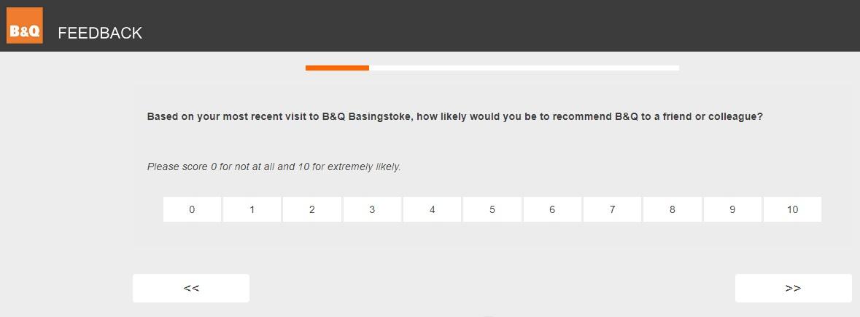 B&Q Chester Survey Questions