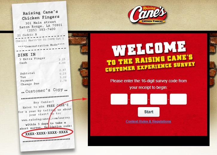 Raising Cane's Customet Satisfaction Survey