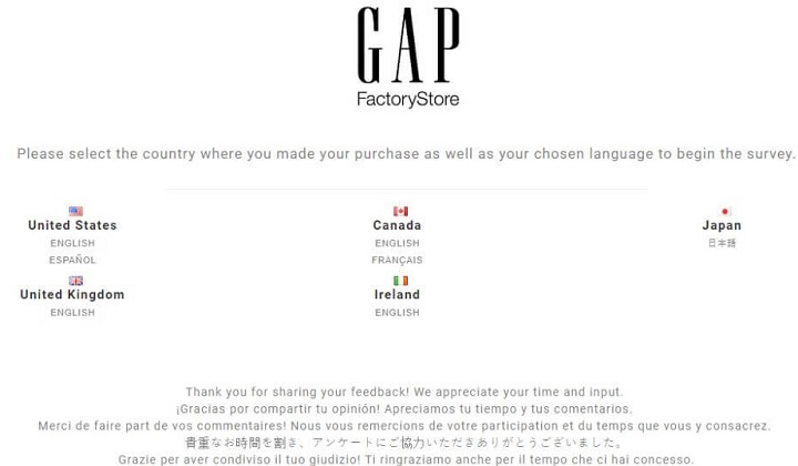 gap factory customer survey