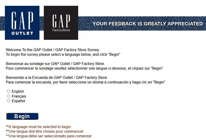 gap factory outlet survey